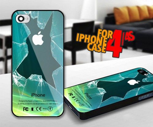 Broken Lcd Green for iPhone 4 / 4s Black case | iPhoneCustomCase - Accessories on ArtFire