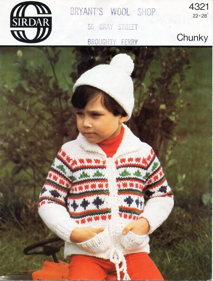 c30b1384814 childrens fairisle jacket and cap knitting pattern pdf chunky fair isle  cardigan hat 22-28