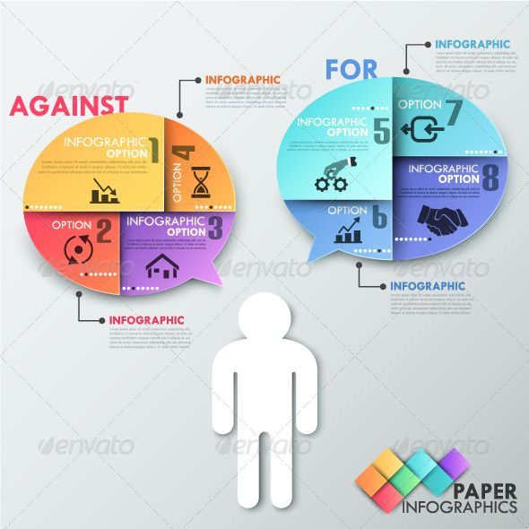 Paper Infographic Template With Talking Man - Infographics