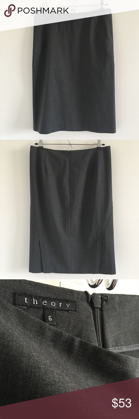 🆕 Theory Golda 2 Urban Pencil Skirt in Charcoal A classic pencil skirt in suiting wool featuring side vents in back for a sexy edge.  Wear to work for total boss vibes.  Stats (laying flat): Length: approx. 23"