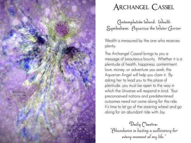 Archangel Cassiel can also be called: Casiel, Cassel, Castiel, Cas, Cass, Casitiel, Castael, Mocoton, Kaziel, kafkiel, Qafsiel, Qaphsiel, Qaspiel, Quaphsiel. He is also known as the angel of temperance.