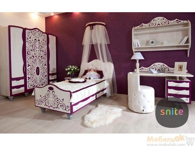 Подростковая кровать Ажур АР-201 с балдахином, фиолетовая спальня для принцессы. Princess purpule bedroom for girl