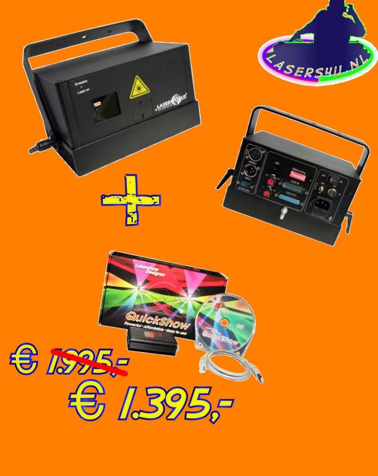 Koningsdag Aanbieding, Laserworld DS-1800RGB Laser + Pangolin Quickshow  € 600,- Korting !!
