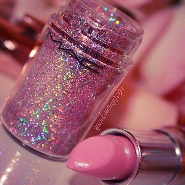 Glittery shadow  and Mac lipstick