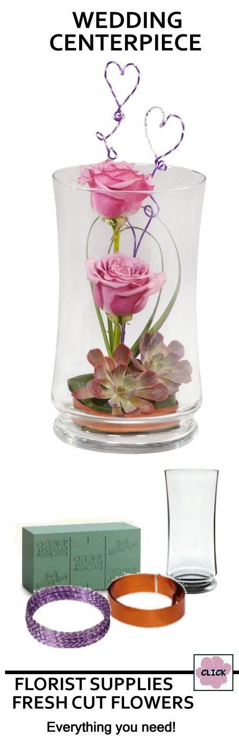Wedding Flower Centerpieces - Pink Roses in Vase.  Easy to create.  See list of florist supplies needed (including fresh flowers) and design instructions.