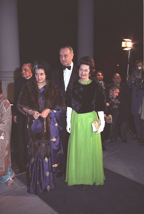 This photo was taken on the North Portico of the White House, at the State Dinner for Prime Minister Indira Gandhi on 3/28/1966.