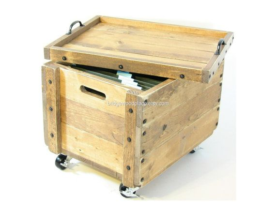 Rolling Wood Crate Table Mobile Wooden File Storage Box