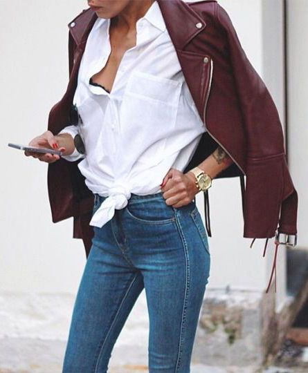 street style / burgundy leather + denim
