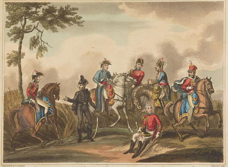 Coalition Officers:Prince of Orange, Duke of Brunswick,Duke of Wellington,Lord Hill,Sir Thomas Picton (sitting foreground),Prince Blucher, The Marquis of Anglesey (Lord Uxbridge) engraving by George Cruikshank.Source The Battle of Waterloo: An Historical Account of the Campaign in the Netherlands London:Henry Colburn, 1817.