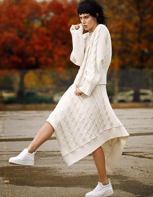 Cream cable knit (Ruby Aldridge for Harper's Bazaar China January 2016 by Tony Kim)