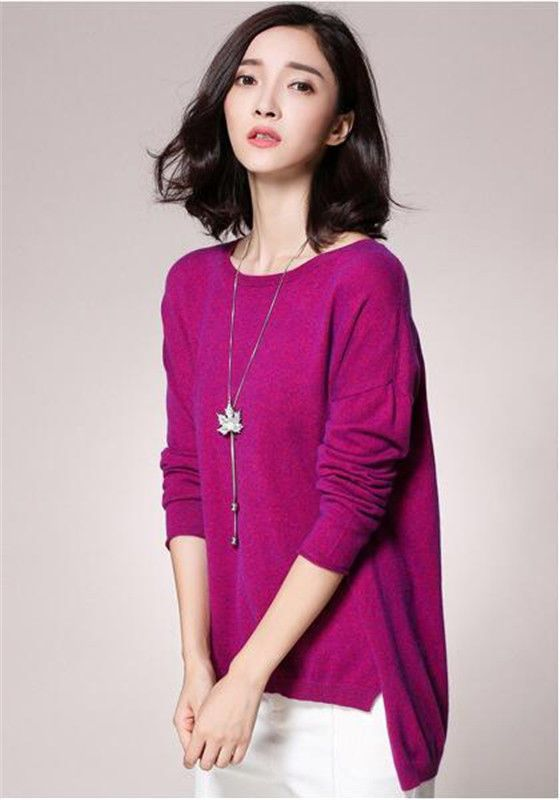 Women Autumn& Winter Cashmere Sweater Pullover Knitted Bottoming Shirt Bat Shirt
