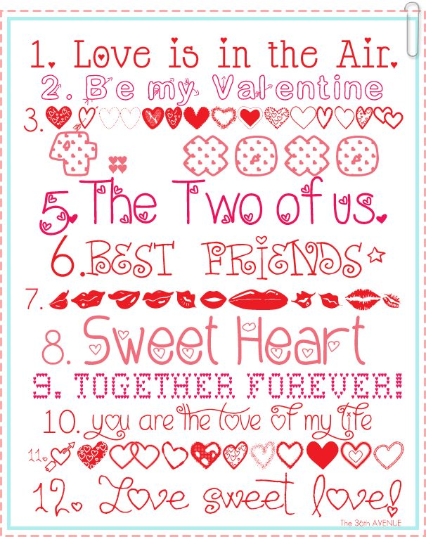 Valentine fonts.