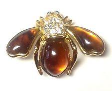 Редкий в отставке Джоан Риверс искусственный янтарь со стразами заколка Брошь Пчела БЕЗ РЕЗЕРВА!