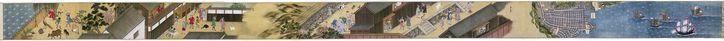 Anonymous | Makimono Nagasaki en Deshima, Anonymous, c. 1840 | Rolschildering; van rechts naar links: vijf schepen op zee voor de haven van Nagasaki, waarvan één Hollands, één Siamees en drie Chinees. Vervolgens de kaart van Nagasaki met het eiland Deshima en de Chinese nederzetting. Hierna komen enige taferelen uit het leven van de Chinezen in hun nederzetting, gevolgd door scènes uit het leven van de Hollanders op Deshima. Het geheel is geschilderd in vogelvlucht perspectief.