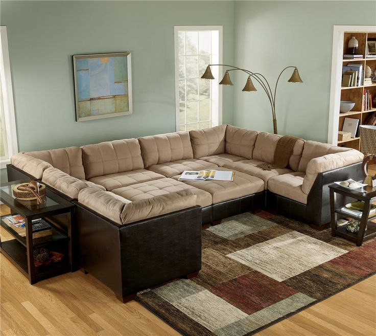 Modular Sectional Sofa Ashley: Mocha Sectional Sofa Group With Ottomans By Ashley
