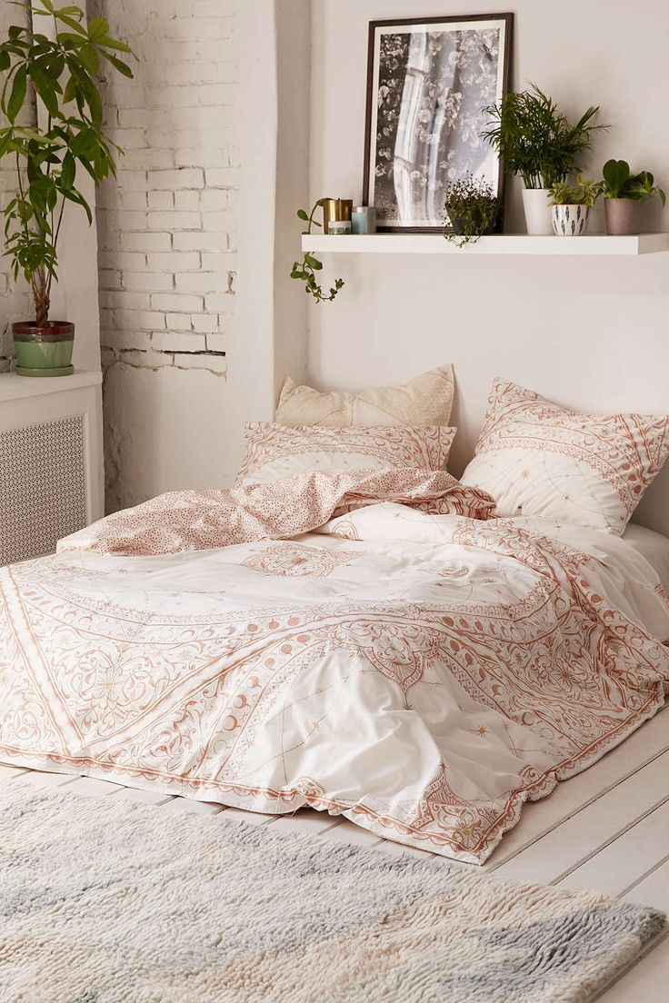 Bohemian Mandala Tapestry Gypsy style in muted blush pale rose pink shades, stunning! Celestial Foiled Duvet Cover from Urban Outfitters