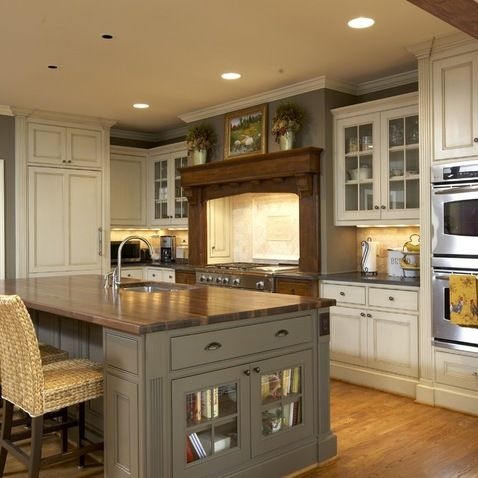 Shallow Glass Door Cabinet End Of Kitchen Island Design Ideas