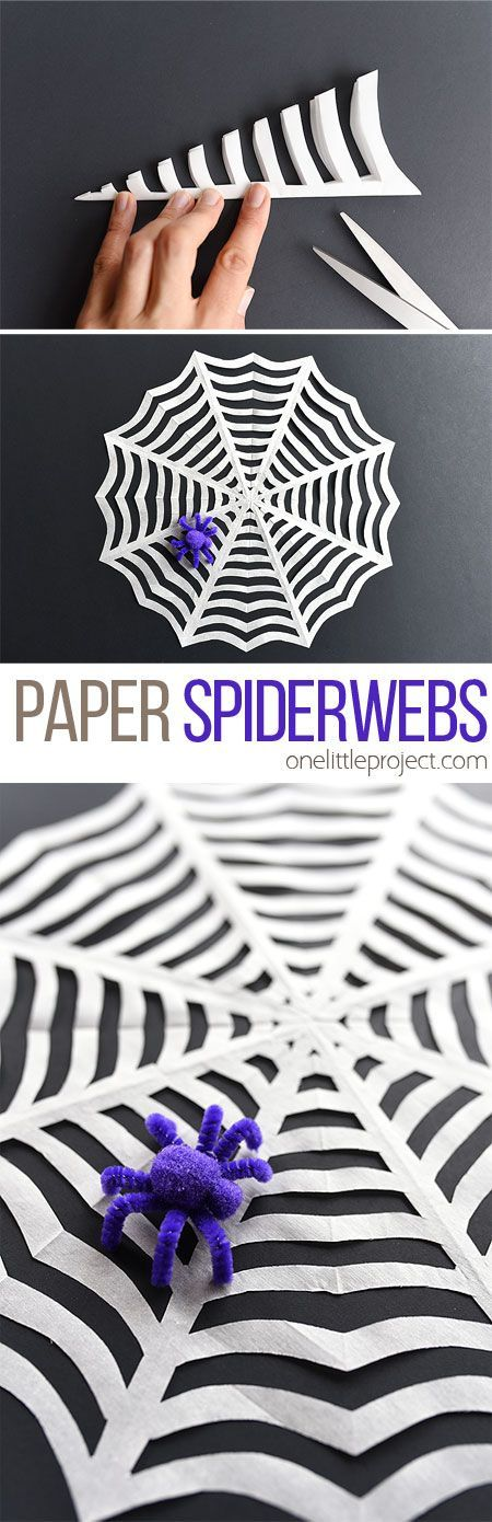 These paper spider webs are so easy to make and look great! That's one