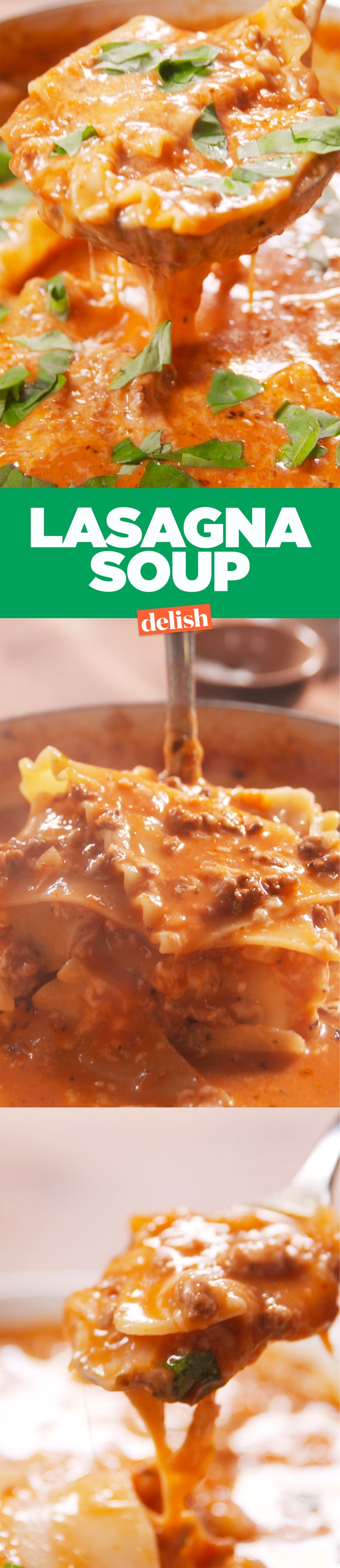Lasagna soup is the most comforting soup you'll ever taste. Get the recipe on Delish.com.