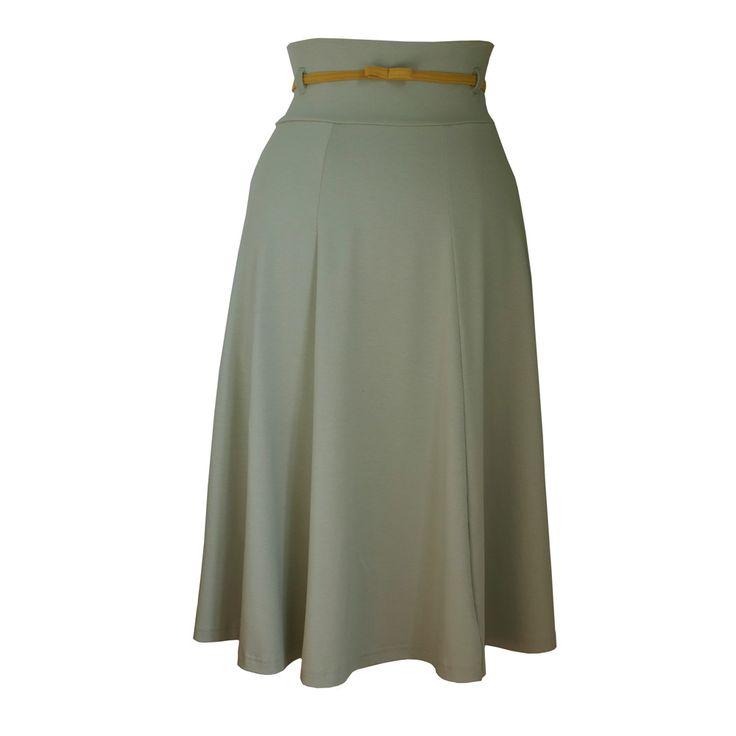NEW: Oleandu, rok met hoge taille voor het voorjaar 2015; in een stille pastel olijfgroene kleur. Mooi met oker of perzik! Via www.radijsje.nl