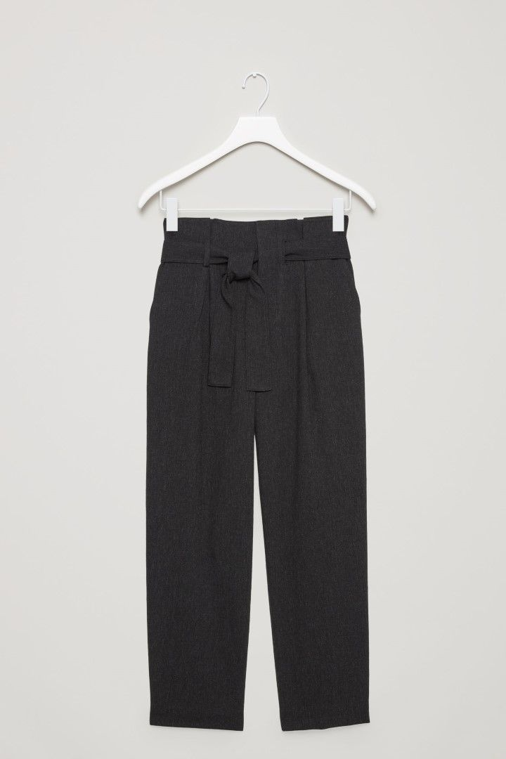 COS image 2 of Belted wool trousers  in Dark grey