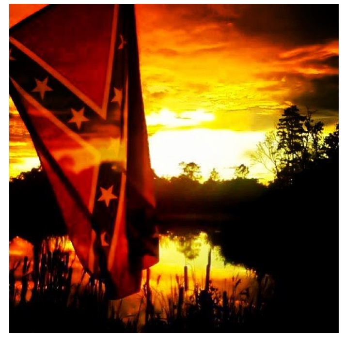 Rebel flag in the sun set a pretty thing I love it