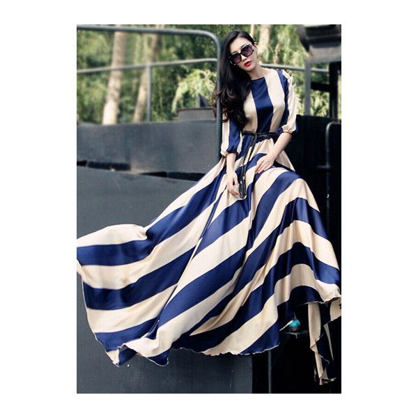 Rotita Half Sleeve Color Block Floor Length Dress (135 SAR) ❤ liked on Polyvore featuring dresses, color block, print maxi dress, elbow sleeve dress, colorblock maxi dress, stripe maxi dress and blue maxi dress