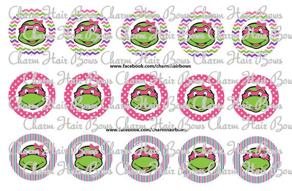 girl ninja turtle bottle cap images by CharmHairBows on Etsy