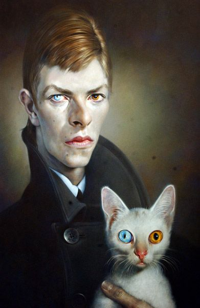 bowie and cat, painted by german artist, sebastian krüger