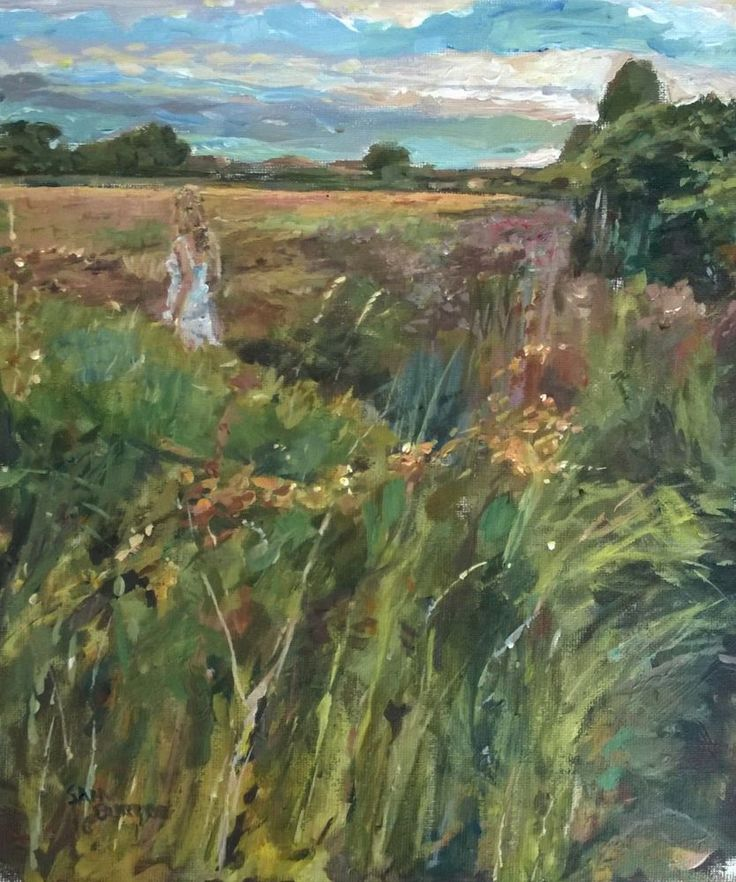 Original Painting collected artist Samuel Burton Walking through Evening field