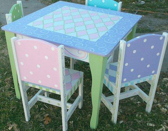 Custom Wooden Childrens Table and Chairs Your choice mix and match 2 chairs choice  Kids Furniture and Decor