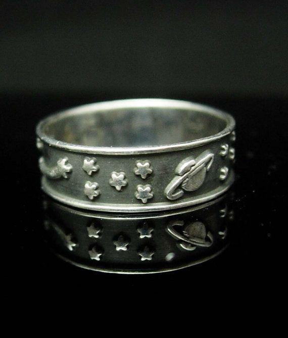Shooting Star Wedding ring Sun Planets stars by NeatstuffAntiques