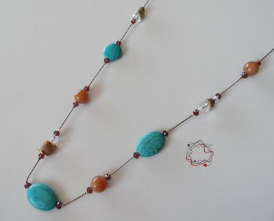 Turquoise, Wood & Jade Necklace