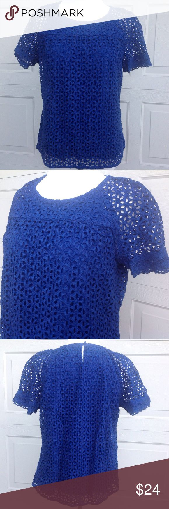 "J. Crew Royal Blue Short Sleeve Top - Size 8 Royal blue, cutout pattern, lined body, see through sleeves, button closure at back. Measurements are approximate: Chest 19"" Length 22"" J. Crew Tops"