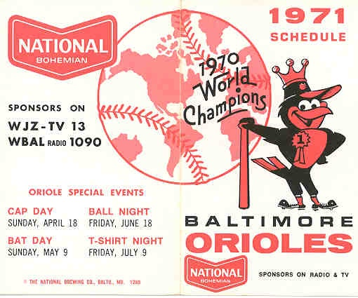 1971 Baltimore Orioles schedule brought to you by National Bohemian