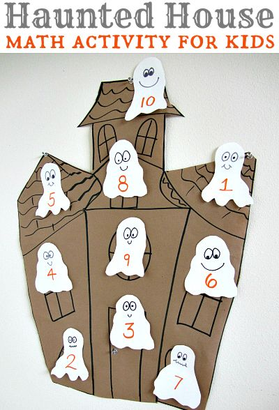 Fun Halloween math idea . Different levels for different ages too! Use with 10 Timid Ghosts by Jennifer O'Connell. Would be great for preschoolers with number recognition and counting practice too!