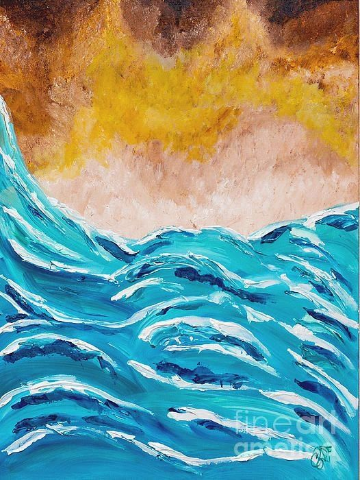Painting by Christine Dekkers, Abstract Rough Seas, part of a four painting series , painted in Cape Coral, Florida  christinedekkersd...