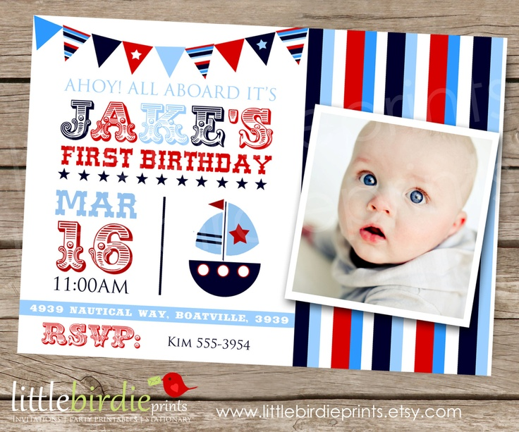 NAUTICAL INVITATION BOAT For Birthday Party With Stars And Banner Printable Photo 1500