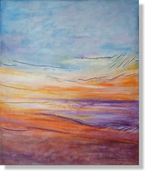 Purple Painting Sunset Painting Ocean Landscape by AnnaKisArt