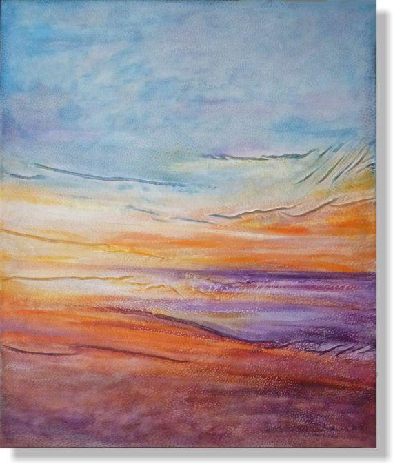 Purple Painting Sunset Painting Ocean Landscape by AnnaKisArt #sunsetpainting, #oceanpainting, #sealandscape, #sunshinepainting, #purplepainting, #abstract,#homedecor, #walldecor, #wallart, #leatherart, #leatherpainting