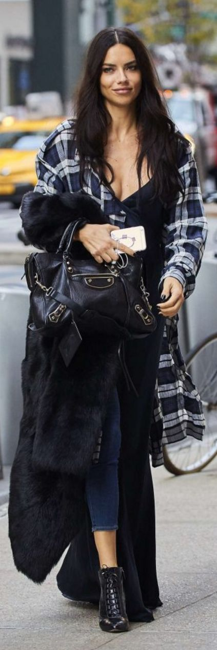 Adriana Lima in Purse – Balenciaga  Dress – Mason by Michelle Mason  Plaid shirt – Marissa Webb