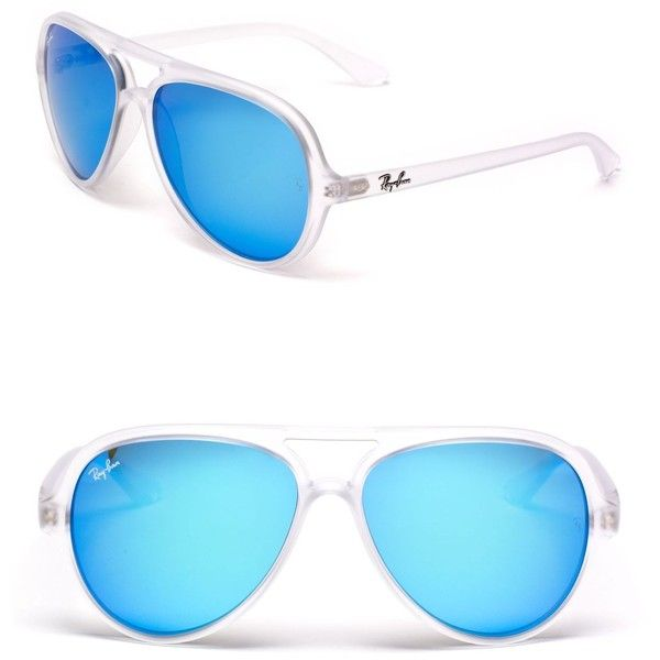 ray bans sunglasses blue  ray ban matte transparent blue mirror aviator sunglasses ($145) ? liked on polyvore