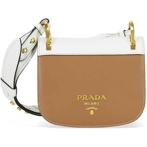Prada Pionniere Leather Shoulder Bag - Brown and White ($2,400) ❤ liked on Polyvore featuring bags, handbags, shoulder bags, prada, prada shoulder bag, prada purses and prada handbags
