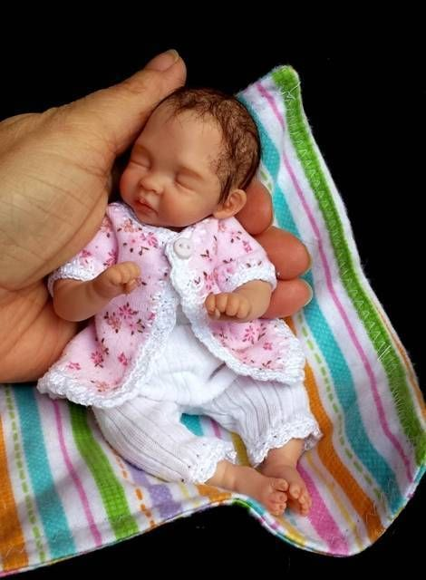 Miniature OOAK hand SCULPTED newborn BABY girl clay ART doll By: Dawn McLeod 6