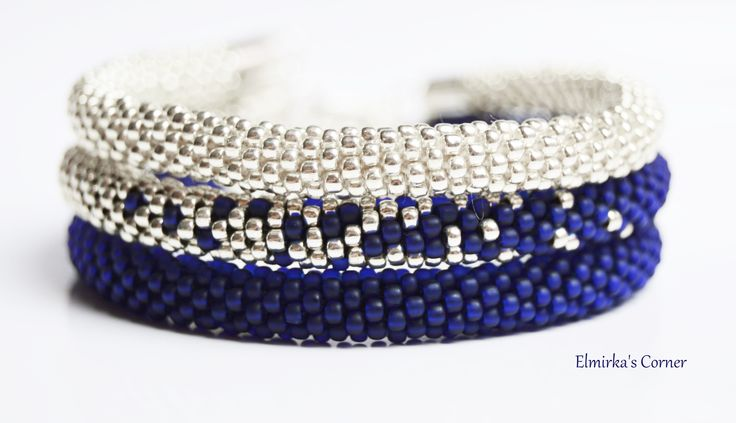 Matt dark blue beads with silver handmade bead bracelet see more: https://www.facebook.com/ElmirkasCorner/posts/849549191819168