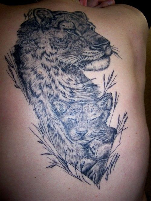 Lioness and her cub permanent portable artwork for Lion and cub tattoo
