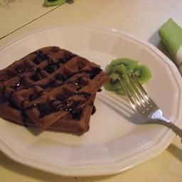 Chocolate waffles using bisquick.                         1 1/2 cBisquick baking mix 2 tbVegetable oil 1/3 cCocoa 1 cSugar 3/4 cWater 2 Eggs