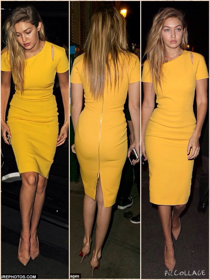 Gigi Hadid put on another gorgeous display as she stepped out in Paris on Friday evening, wearing a figure-hugging dress Her lithe curves were highlighted in a saffron yellow figure-hugging dress, cut down to her knees and with short, capped sleeves.