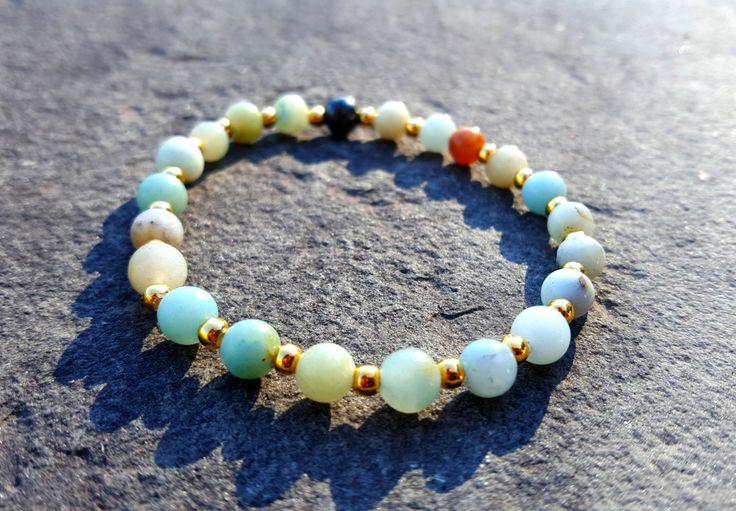 Bracelet de perle | Amazonite | Bohème | Or | 6mm | Plage | Mala | Yoga | Bijou…