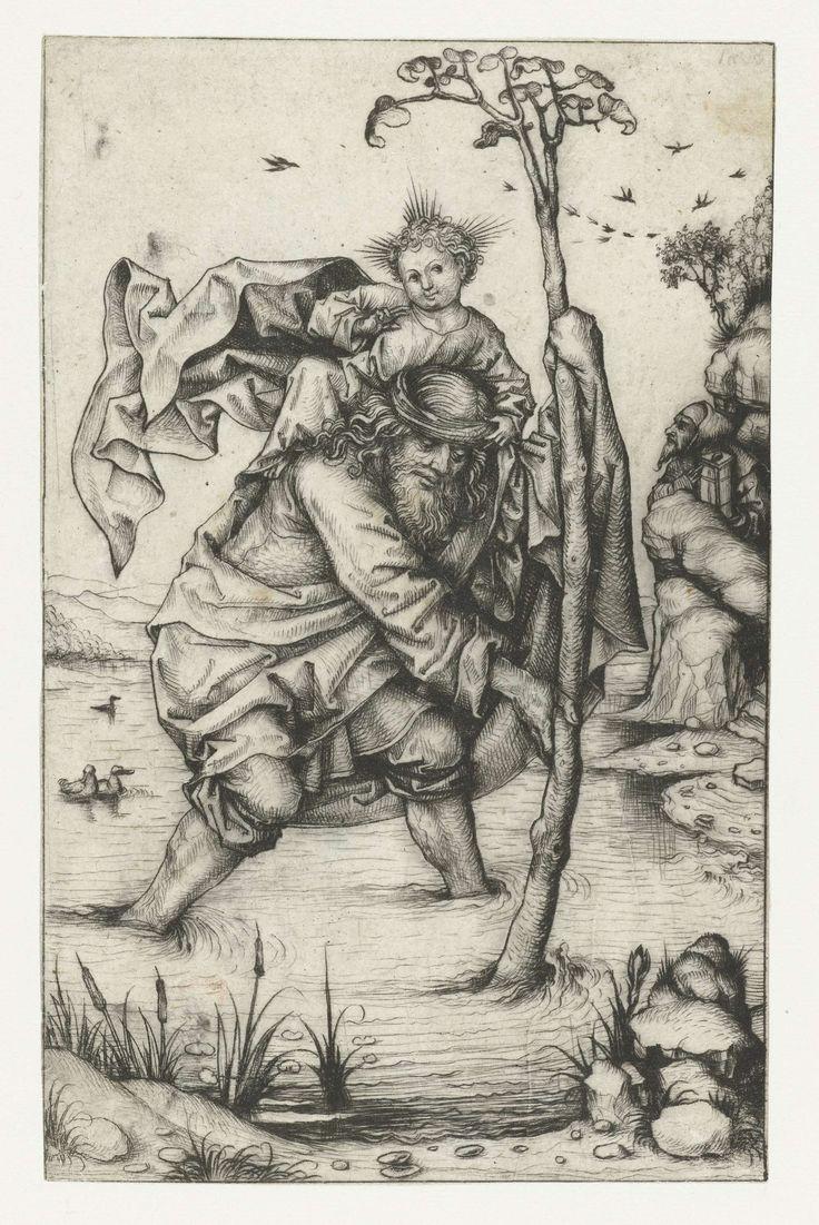Meester van het Amsterdamse Kabinet | Heilige Christoffel ('grote versie'), Meester van het Amsterdamse Kabinet, 1480 - 1485 | Christoffel met Christus op zijn rug, staand in de rivier. Uit zijn staf groeit dadelpalm. Tussen de rotsen de kluizenaar met zijn lantaarn.